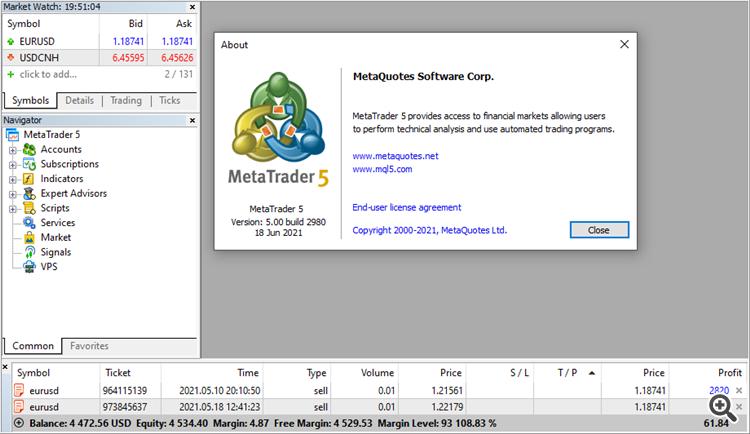 MetaTrader 5 platform build 2980