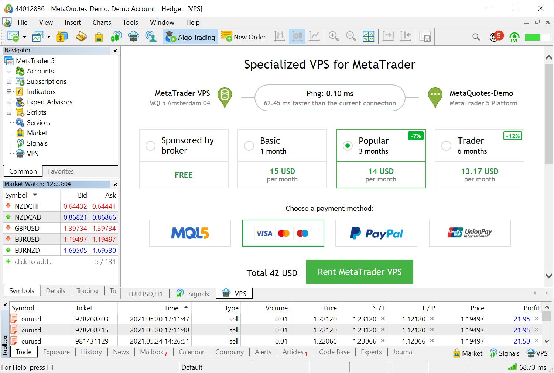 Improved MetaTrader VPS showcase