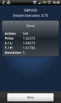 MetaTrader 5 Android: Finished Trade