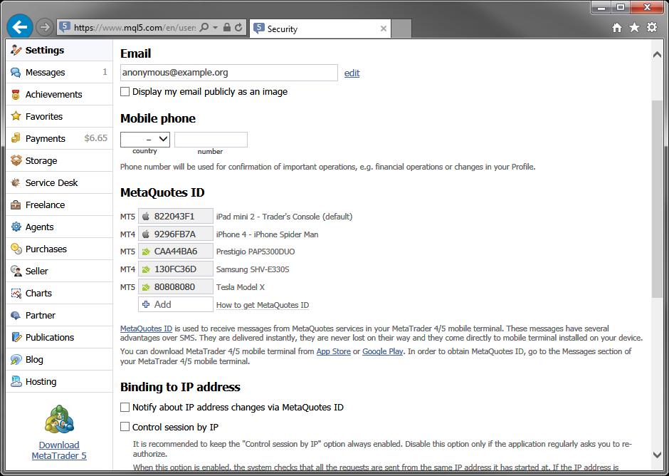 在mql5.com个人资料中设置推送通知。