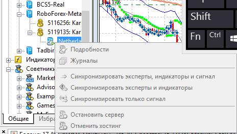 неактивное меню виртуального хостинга для МТ5 х32