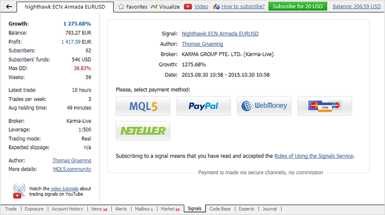 Pay for Signal Subscriptions Straight from the MetaTrader 4 Platform