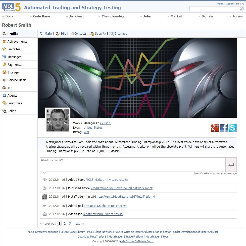 Обновленный профиль на MQL5.com