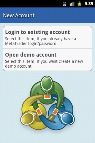 New Account in MetaTrader 4 for Android