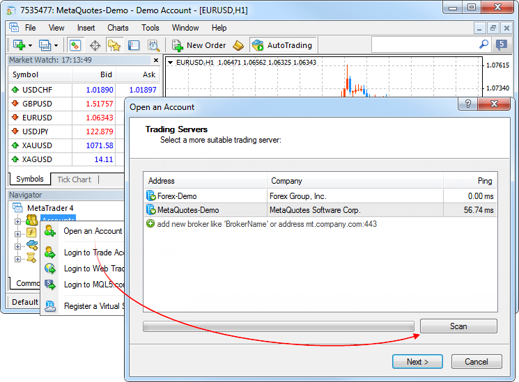 4 50 setup metatrader server