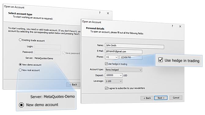 Откройте демо-счет с хеджированием на MetaQuotes-Demo