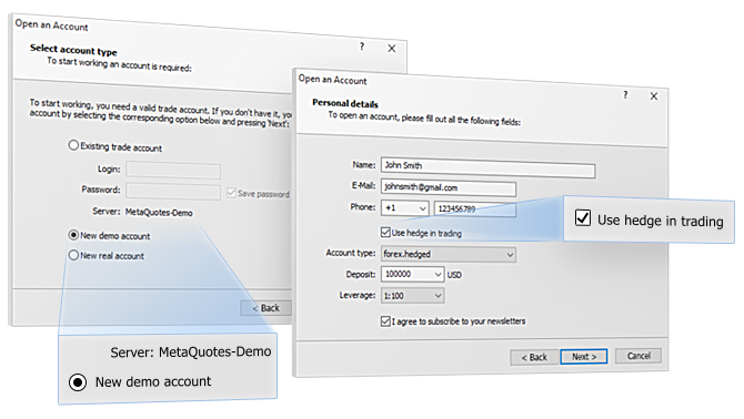 在MetaQuotes-Demo上新建一个锁仓模拟账户