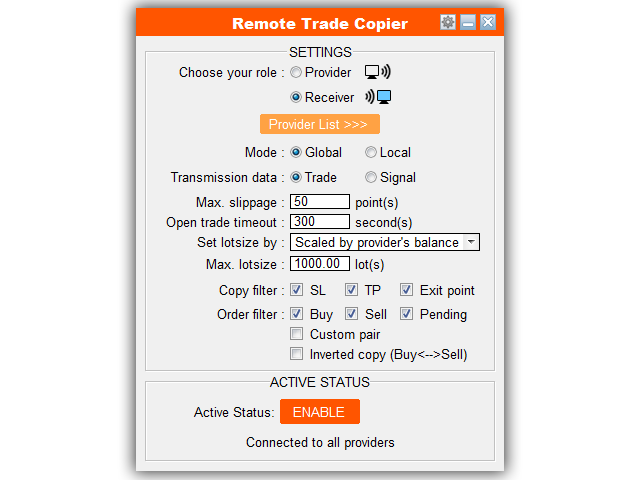Buy the 'Trade Copier Pro' Trading Utility for MetaTrader 4