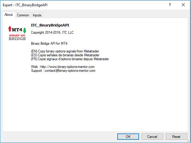 Binary Bridge API for MT4 Free version