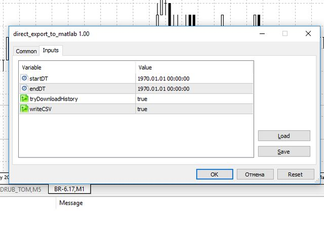 Buy the 'Direct export to matlab' Trading Utility for MetaTrader 5