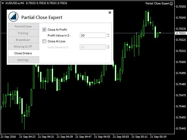 Partial Close Expert Demo MT5