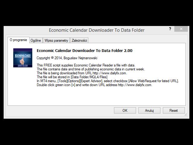Economic Calendar File Downloader Data Folder
