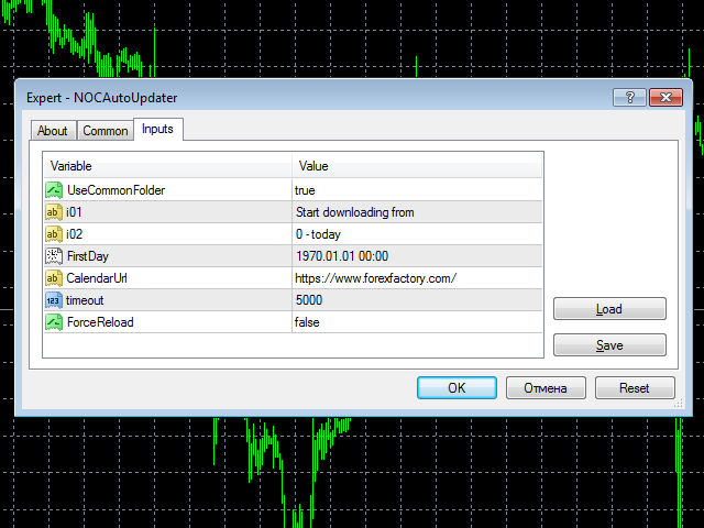 Data auto loader for News on Chart indicator