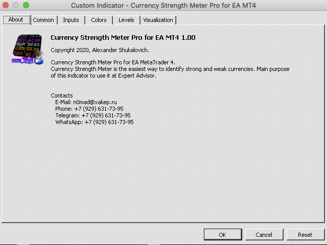 Currency Strength Meter Pro for EA MT4