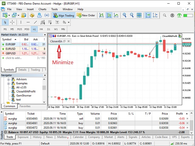 Close all positions in total target profit