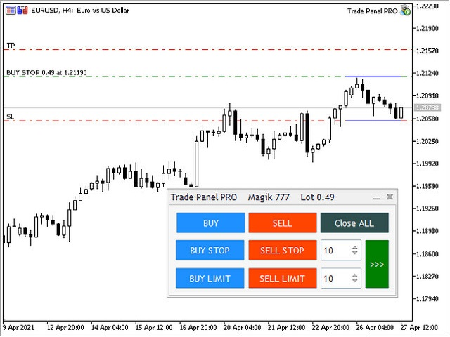 Download the Hidden TP and SL for MT4 demo Trading
