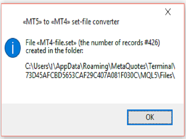 MT5 to MT4 set file converter