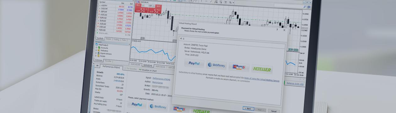¡Pague el hosting virtual y la suscripción a las señales directamente en MetaTrader 5!