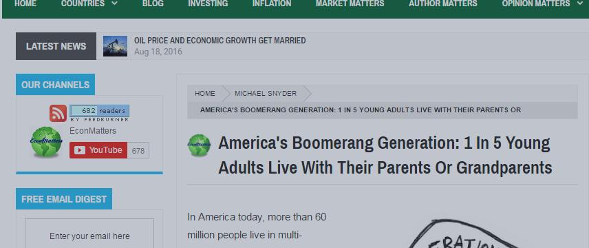 США: Каждый пятый живет с родителями, ибо не умеет считать и писать