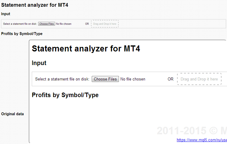 Browser window after MT4 html tool start-up