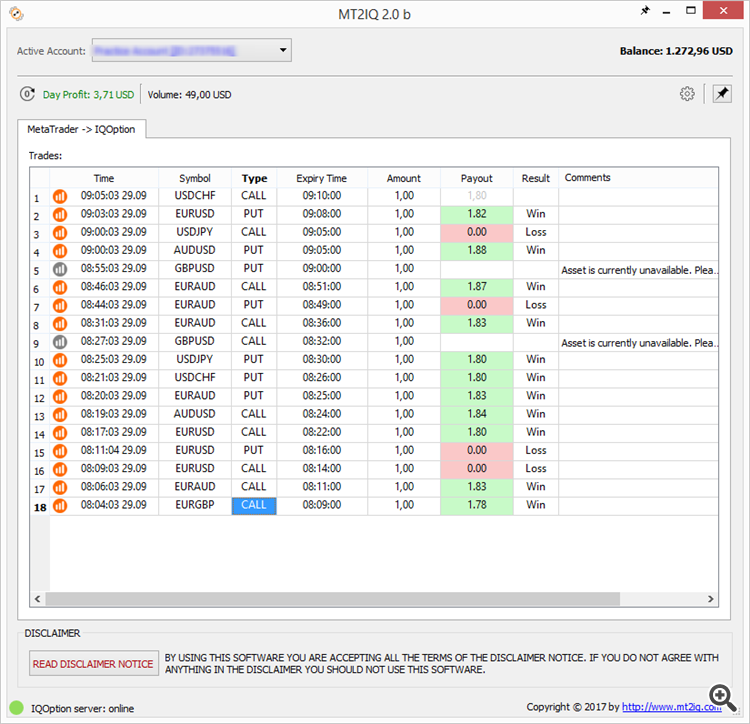 Automated trading on IQOption directly from MetaTrader - My Trading