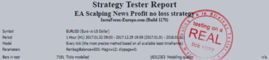 EA Scalping News Profit no loss strategy V.1.0 - TESTING ON A REAL TICK STORY EURUSD!