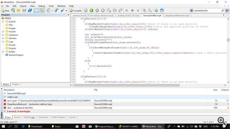 3 errors encountered coding DemoEADNN.mqh