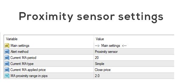 Proximity sensor settings