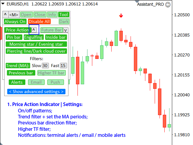 1: Price Action Indicator: settings