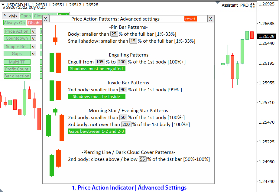 1. Price Action Indicator: Advanced Settings
