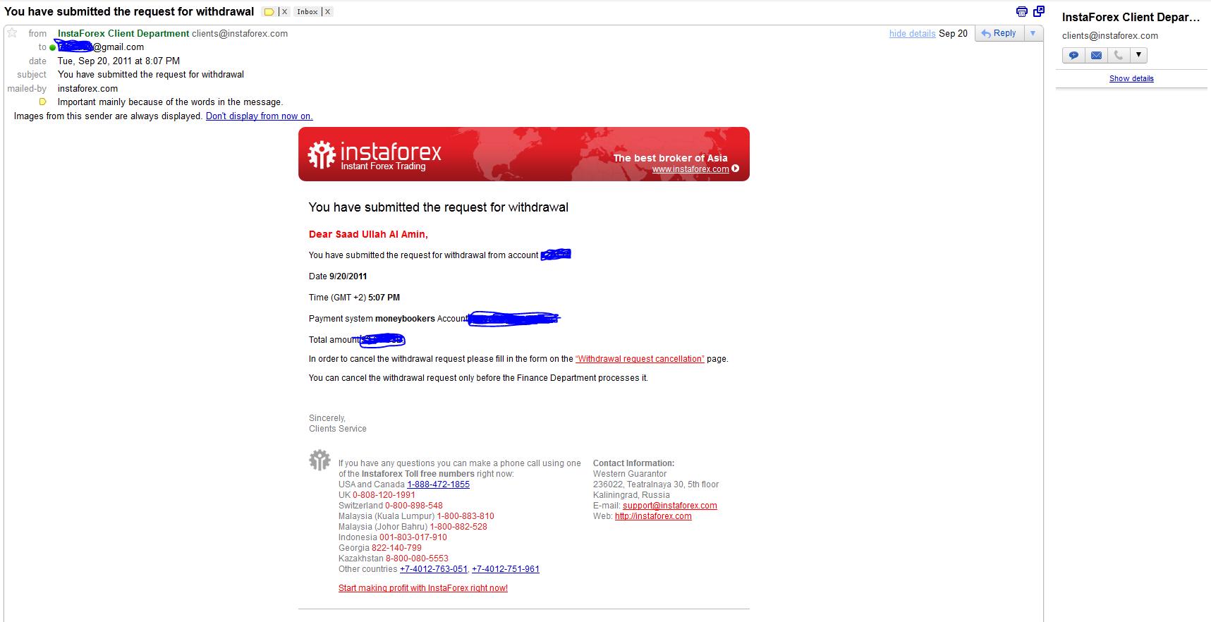 Instaforex scam