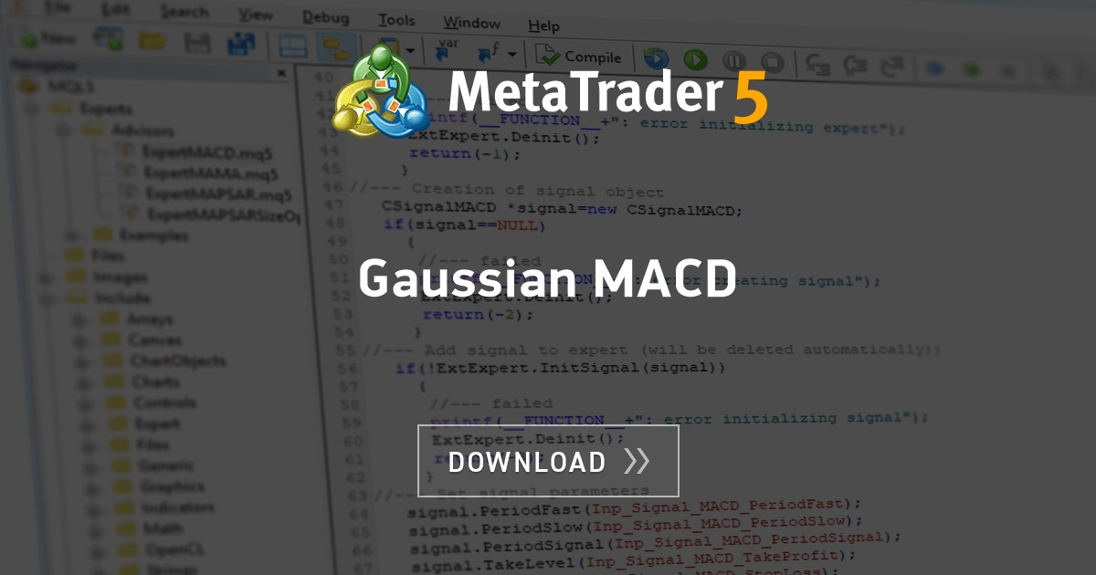 Free download of the 'Gaussian MACD' indicator by 'zzuegg' for