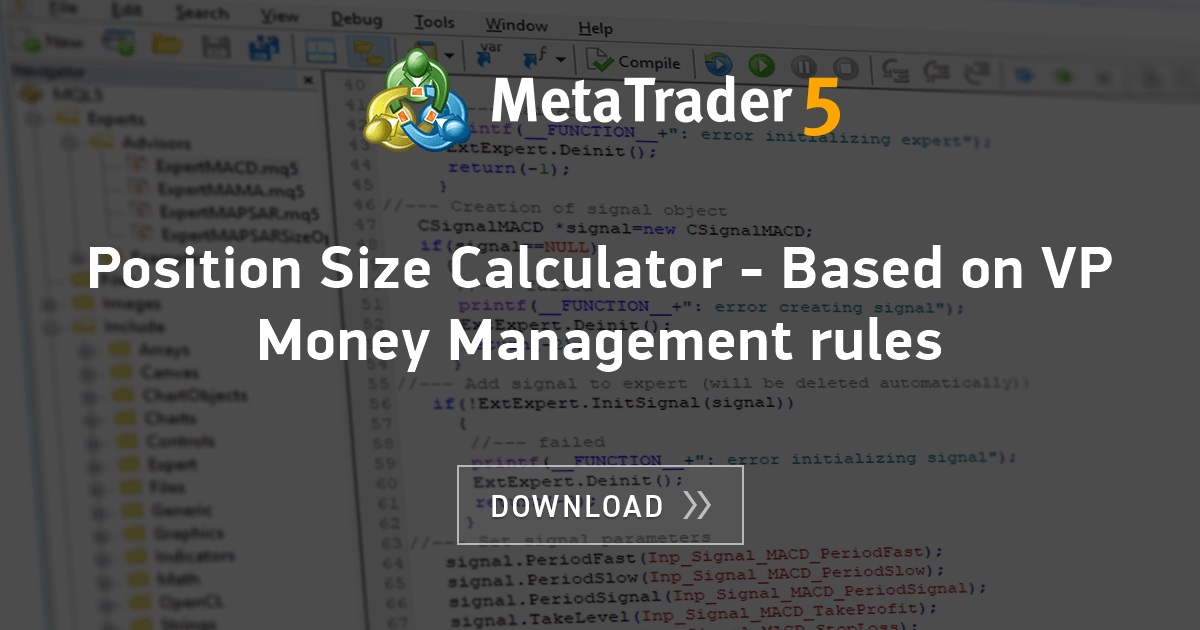 Free Download Of The Position Size Calculator Based On Vp Money