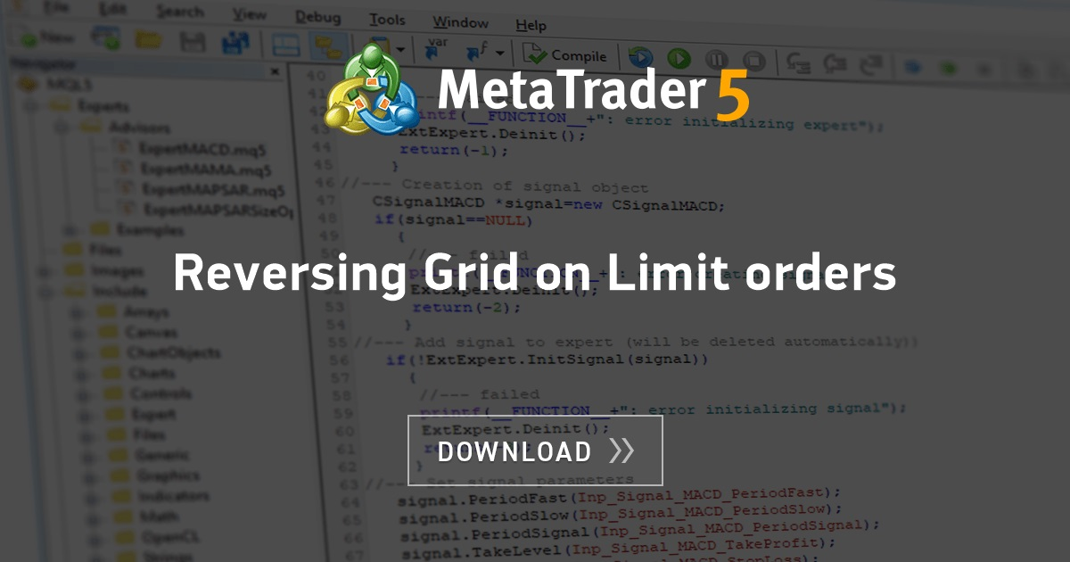 Free download of the 'Reversing Grid on Limit orders' expert by 'Wahoo' for MetaTrader 5 in the ...