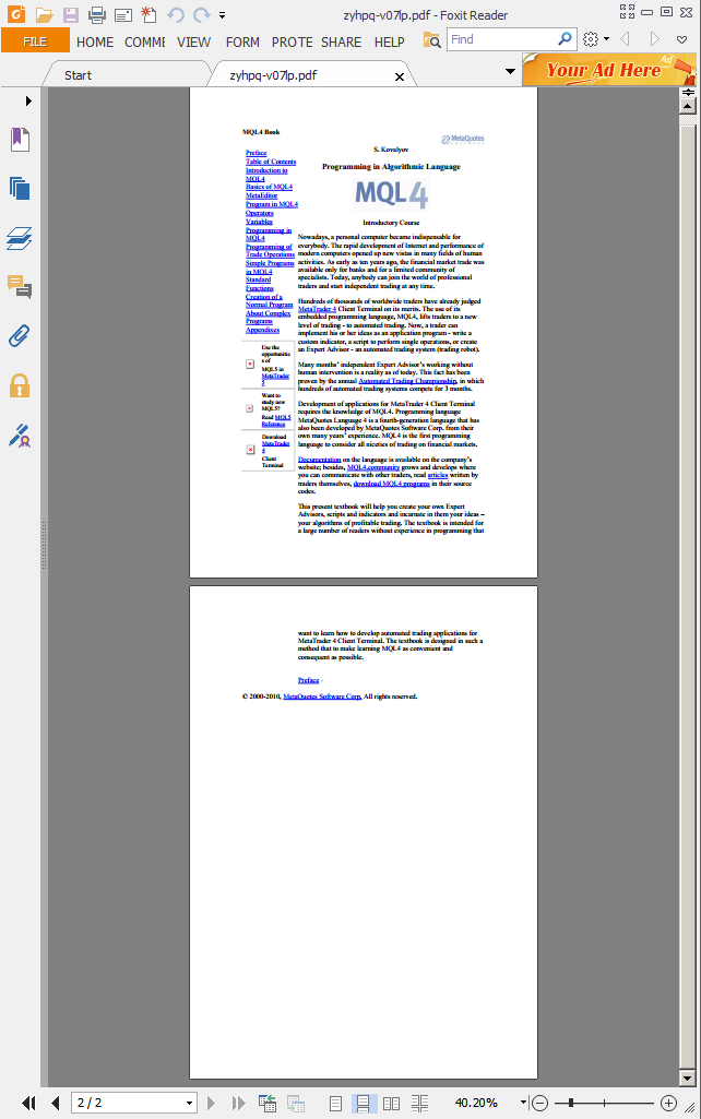 mql4 book pdf